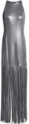Halston Metallic Fringed Faux Suede Gown