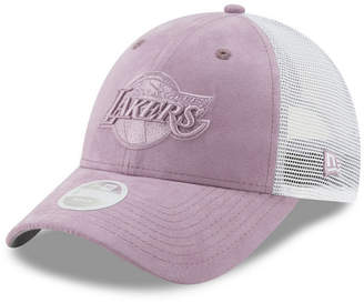 New Era Women Los Angeles Lakers Suede Trucker 9FORTY Snapback Cap