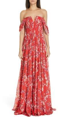 AMUR Kyla Off the Shoulder Chiffon Maxi Dress