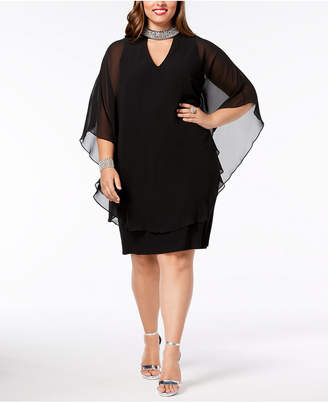Xscape Evenings Plus Size Embellished Chiffon-Overlay Dress