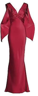 Zac Posen Women's V-Neck Satin Back Crepe Gown
