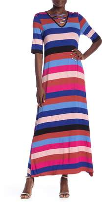 Spense V-Neck Striped Maxi Dress