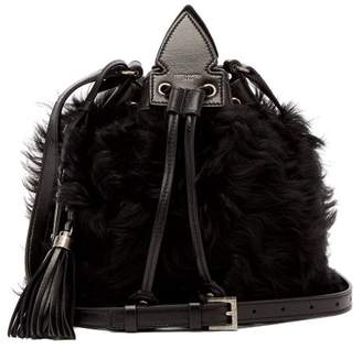 Saint Laurent Anja Shearling Crossbody Bag - Womens - Black