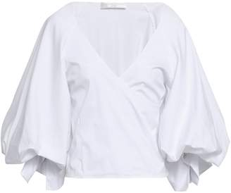 Caroline Constas Wrap-effect Stretch-cotton Poplin Top