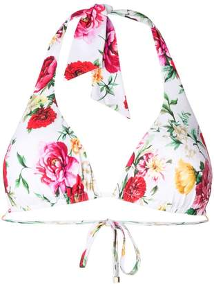 Dolce & Gabbana floral print triangle bikini top