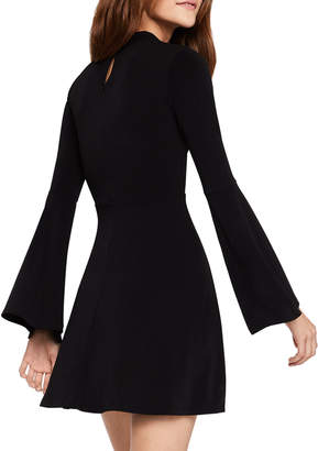 BCBGeneration Mock-Neck Bell-Sleeve Fit-and-Flare Dress