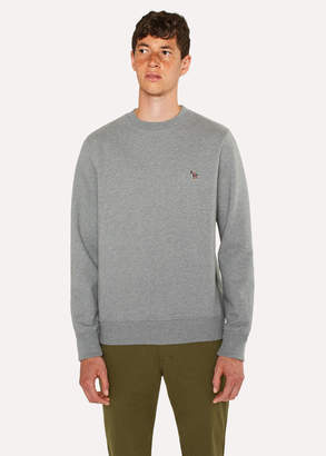 Paul Smith Men's Grey Marl Organic-Cotton Zebra Logo Sweatshirt