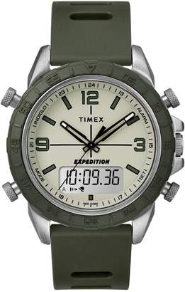 Timex Expedition Pioneer Combo Silvertone Silicone-Strap Watch