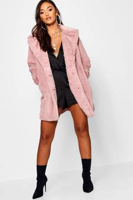 boohoo Petite Collared Faux Fur Coat