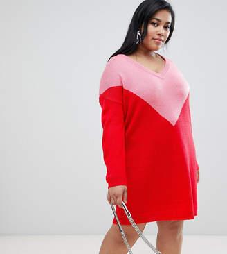 3ef5c1a26a7 at ASOS · Brave Soul Plus chevron jumper dress