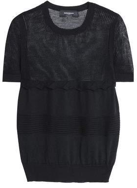 Rochas Open Knit-Paneled Wool Top