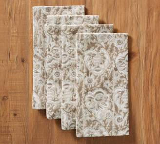 Pottery Barn Block Print Napkin, Set of 4 - Gray Floral