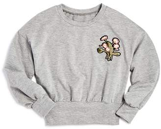 Aqua Girls' Drop-Shoulder Sweatshirt with Floral Patch, Big Kid - 100% Exclusive