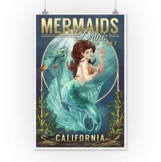 California - Mermaids Drink for Free (top) - Lantern Press Artwork (12x18 Art Print, Wall Decor Travel Poster)