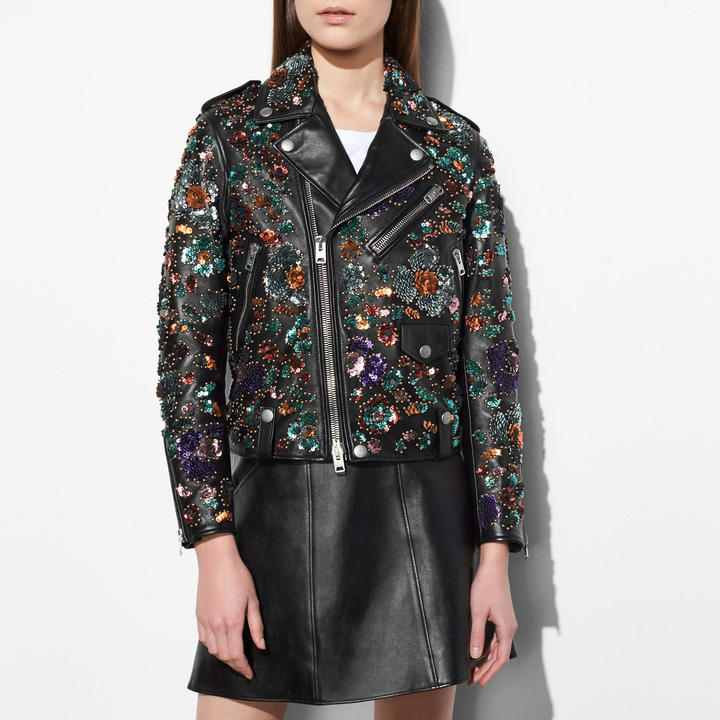 Coach  COACH Coach Moto Jacket With Leather Sequins