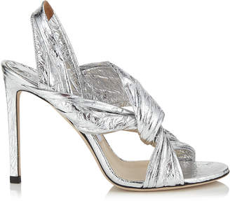 Jimmy Choo LALIA 100 Silver Metallic Foil Leather Mules with Intertwined Upper