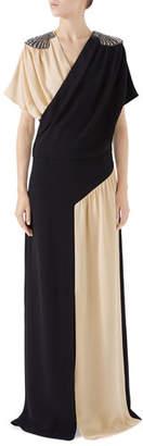Gucci Shell-Shoulder Bicolor Silk Dress