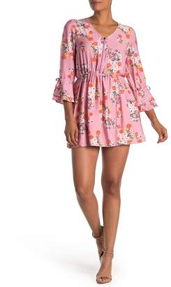 I. MADELINE Floral Bell Sleeve Zip Front Mini Dress