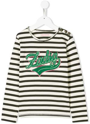 Zadig & Voltaire Kids striped logo patch T-shirt