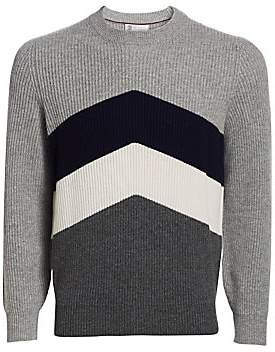 Brunello Cucinelli Men's Sport Graphic Wool, Silk& Cashmere Rib-Knit Crew Sweater
