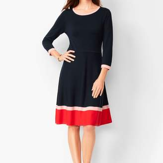 Talbots Tri-Color Fit & Flare Sweater Dress