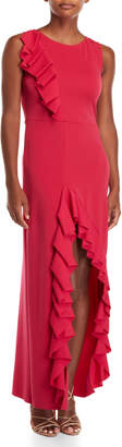 Maje Sleeveless Ruffle Maxi Dress