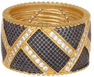 Freida Rothman Textured Ornaments Wide Band Ring - Size 5