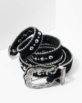7 For All Mankind B-Low The Belt Baby Heaven Belt in Black and Silver