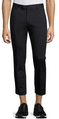 Moncler Slim-Fit Cropped Trousers, Navy $300 thestylecure.com