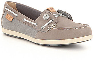 Sperry Coil Ivy Leather and Textile Slip On Boat Shoes $90 thestylecure.com