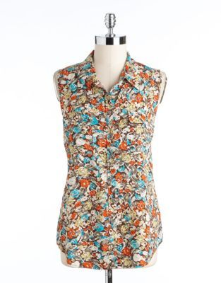Vince Camuto TWO BY Floral Hi-Lo Utility Blouse