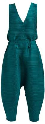 Pleats Please Issey Miyake Tech Pleated Voluminous Jumpsuit - Womens - Green
