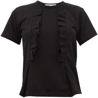 Comme des Garcons Ruffled Trim Cotton T Shirt - Womens - Black