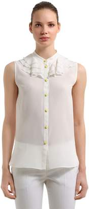 Moschino RUFFLED SLEEVELESS SILK BLOUSE
