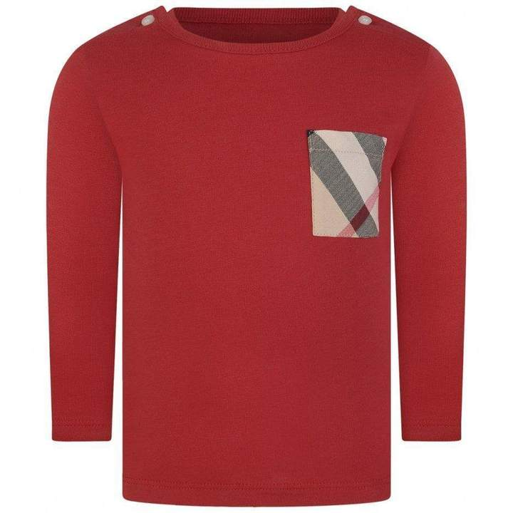 BurberryBaby Boys Red Cotton Top