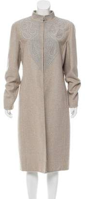 Oscar de la Renta Embroidered Long Coat
