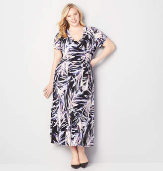 Avenue Abstract Faux Wrap Maxi Dress
