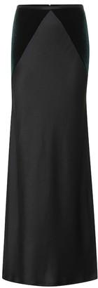 Haider Ackermann Satin and velvet maxi skirt