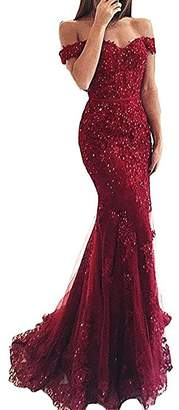 Rieshaneea Womens Off Shoulder Prom Dresses Lace Long Ball Gown