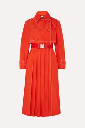 Fendi Pleated Gabardine Trench Coat - Orange