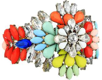 Steve Madden Floral Jeweled Cuff Bangle Bracelet