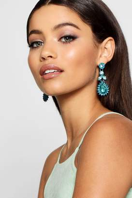 boohoo Bright Diamante Statement Earrings