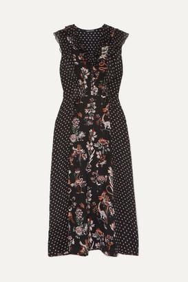 Markus Lupfer Larissa Ruffle-trimmed Printed Silk Crepe De Chine Midi Dress - Black