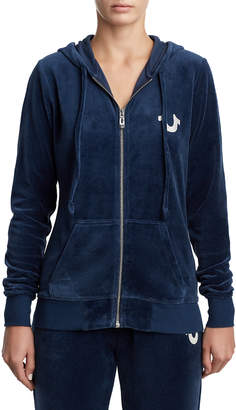 True Religion WOMENS CRYSTAL EMBELLISHED VELOUR ZIP UP HOODIE
