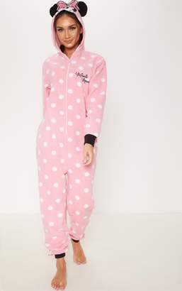 PrettyLittleThing Pink Disney Minnie Mouse Polka Dot Onesie