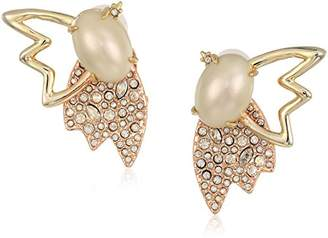 Alexis Bittar Crystal Encrusted Pearl and Petals Clip On Earrings