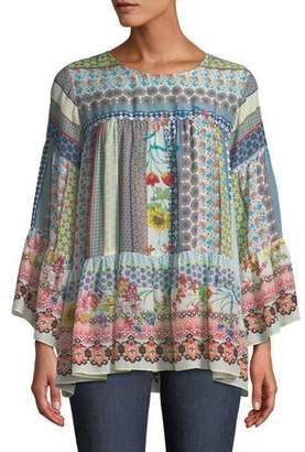 Johnny Was Peonies Georgette Flare-Sleeve Blouse, Plus Size