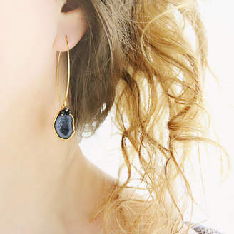 Artique Boutique Black Geode And Diamond Earrings