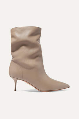 Aquazzura Very Boogie 60 Leather Ankle Boots - Light gray