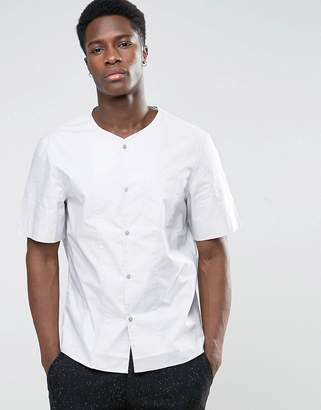 Kiomi Collarless Short Sleeve Shirt in Regular Fit